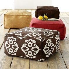 DIY poufs! These would be awesome I weather resistant fabric for around the fore Pit we are putting on our patio
