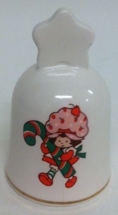 Vintage 1983 Strawberry Shortcake Porcelain Christmas Bell American Greetings Co