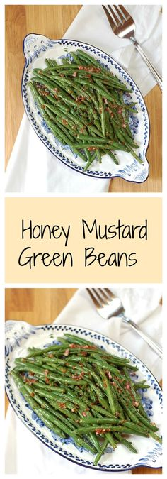 An easy, quick recipe for roasted honey mustard green beans. A perfect weeknight side dish! Find the recipe at turniptheoven.com.