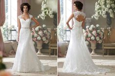 Flo (Style 214204) by David Tutera for Mon Cheri - Chantilly lace, tulle and organza over satin slim A-line cage wedding dress with lace cap sleeves, deep Queen Anne neckline and sweetheart bodice, beaded jewels at natural waistline, open back bodice with button closures, satin slim underskirt with sweep train featuring a cage overskirt with scalloped hemline and chapel length train. Available in Ivory/Alabaster Ivory, White.