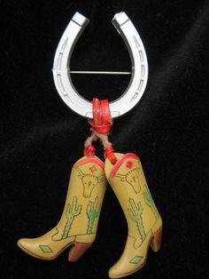 Art Deco Celluloid Horseshoe Cowboy Boots Brooch