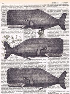 Whales.Antique.Book page.collage Art