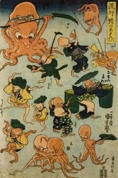 Hokusai and Hiroshige are household names but it's all about Kuniyoshi - Octopus Games, woodblock print by Utagawa Kuniyoshi (1840-1842).
