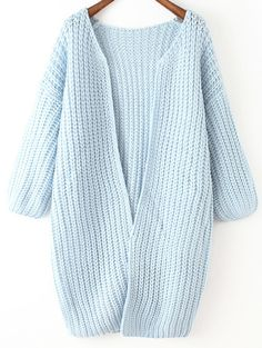 Chunky Knit Long Blue Coat