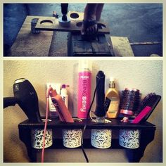 DIY hair dryer, curling iron, and straightener holder. I will be doing this so my poor husband has some space in our bathroom! Straightener Holder, Curling Iron Holder, Hair Appliance Storage, Rangement Makeup, Hair Stations, Diy Vanity, Vanity Room, Vanity Ideas, Home Salon