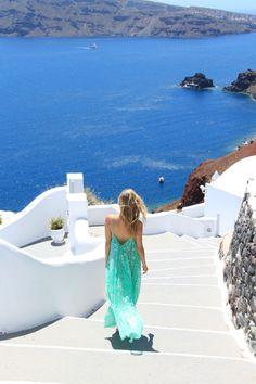 turquoise long dress by Mirian Pérez, honeydressing