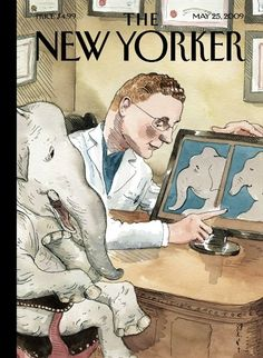 Premium Giclee Print: The New Yorker Cover - May 2009 by Barry Blitt : The New Yorker, New Yorker Covers, Elephant Illustration, Illustration Art, Cover Pages, Cover Art, Capas New Yorker, Dachshund, Fashion Cover