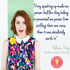Smart Girls, your voice matters! Go follow @geekandsundry for more @feliciaday and geeky sundries ✨