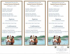 Free Printable Baptism Program by Burlap and Denim - love the layout - one page with three programs!