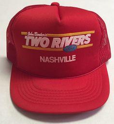 d1b039204f9cf Vtg John Barker s Two Rivers Ford Hat Nashville Tennessee TN Dealership Cap  Red  YoungAn