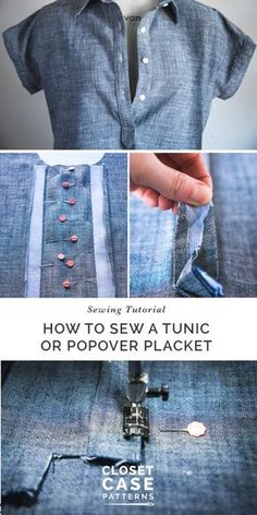 sewing techniques couture A sewing tutorial to walk you through the popover placket // Sewing a tunic (click through for tutorial) - Easy tutorial to sew a tunic or popover placket for the Kalle Shirtdress or your favourite shirt pattern. Sewing Hacks, Sewing Tutorials, Sewing Tips, Tutorial Sewing, Tunic Tutorial, Sewing Basics, Sewing Ideas, Basic Sewing, Dress Tutorials