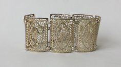 "835 Silver Filagree Bracelet Handerbeit German Panel Link 6 7/8"" long – Rogue's Estate Jewelry & Antiques"