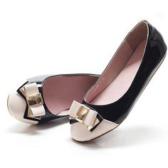 Black and White Patent Leather Engagement Bridesmaid Dress Flats Shoes SKU-1090733