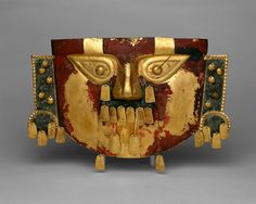 Funerary Mask, 10th–11th century Peru Culture:Sicán (Lambayeque) - Gold, copper overlays, cinnabar
