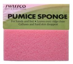 Swissco Pumice Sponge Block for Hands and Feet, Removes Hard or Callused Skin From Hands and Feet with or Without Soap by Swissco. $1.49. Removes hard or callused skin from hands and feet with or without soap.Leaves every ridge clean. Calluses and hard skin disappear. Works quickly, easily and safely to help restore skin's natural softness. For hands and feet. Color may vary. For hands and feet, leaves every ridge clean. Removes hard or callused skin from hands...
