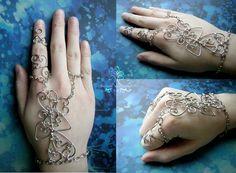Wire Wrapped Henna Slave Bracelet RachaelsWireGarden.deviantart.com