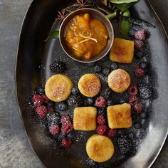 Fried Semolina Dumplings with Apricots and Apricot Preserves | This kosher fried semolina is moist, lightly sweet and studded with bits of dried apricots.