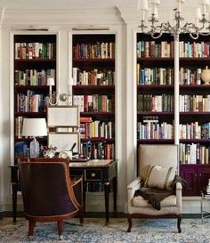Traditional built-ins have more drama when painted black. Best for dark furniture, light walls, non-floor-to-ceiling shelves.