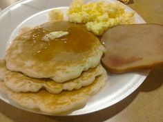 Classic pancakes and maple syrup! Delicious!