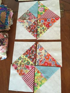 For the charm packs? Sew charm square 4 patch blocks together first to determine size of white squares. Pinwheel Quilt Pattern, Scrap Quilt Patterns, Patchwork Quilting, Scrappy Quilts, 4 Patch Quilt, Quilt Blocks, Half Square Triangle Quilts, Square Quilt, Quilting Projects