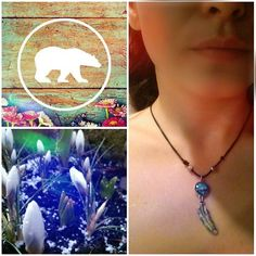 early spring necklace #spring #wild #flowers #wildfield #feather