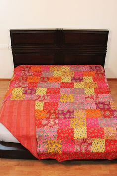 Colorful Patchwork Comforter Bedding Washable Queen Size Kantha Throw/summer Blanket