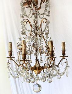 Circa 1940's Brass Vintage chandelier from Pom Pom Interiors in LA
