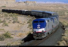 Amtrak No. 6, the eastbound California Zephyr, curves through the desert between Wash and Mounds, Utah, on the morning of July 26, 2002.