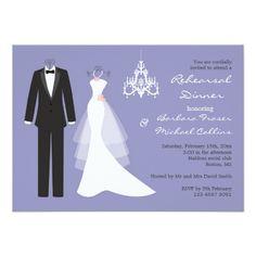 Chandelier Wedding Rehearsal Dinner Tuxedo, gown on violet Rehearsal Dinner Invitation