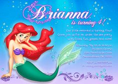 Ariel Invitation For Little Mermaid Birthday Party By PixelParade 999 Wording