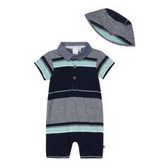 J by Jasper Conran Designer babies navy multi striped romper suit and hat set- at Debenhams.com