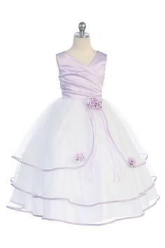Click to enlarge : White/Lavander Satin & tulle long flower girl dress