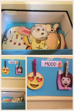 Mood Board! Take an old shoe box and cut out emojis and put them in! Take the lid and cut out the sides. Glue as many clothes pins on as you want and then it's done! I find it very helpful to understand myself with this. Enjoy!