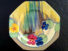 "Clarice Cliff Bizarre ""Pansies"" Octagonal  Plate"