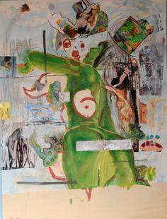 chica en una pared mixta sobre lienzo 90cm x 120cm 2013