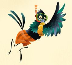 Grackle Character Illustrations for the Houstonian by Dave Mottram, via Behance