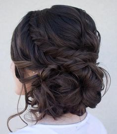 Curly Side Bun   Fishtail Braid
