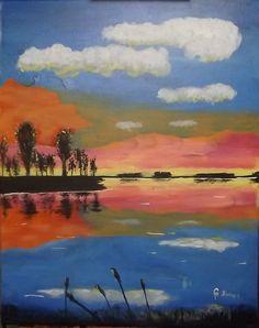 "16 x 20 acrylics on canvas = ""Sunset on a Lake"""