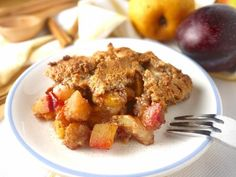 Plum, Pear, and Apple Crumble   This crazy easy dessert is also healthy and very delicious!