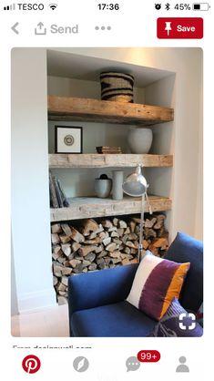 Living Room Wood Burner Firewood Storage Ideas For 2019 Home Living Room, Living Room Decor, Living Spaces, Alcove Ideas Living Room, Log Burner Living Room, Cottage Living Rooms, Dining Room, Home Fashion, Design Case