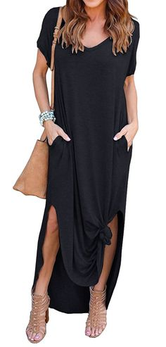 b311449fea3 GRECERELLE Women s Casual Loose Pocket Long Dress Short Sleeve Split Maxi  Dresses at Amazon Women s Clothing