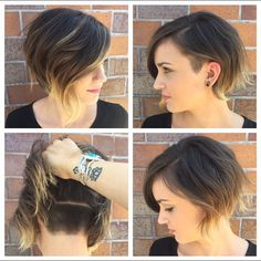 Today, we are addressing the topic of short haircut and we are looking at a series of 20 short-cut women's crop ideas centered around the pixie and the square. These two types of short haircut are among the most popular… Continue Reading → Bob Hairstyles With Bangs, Bob Haircuts For Women, Popular Haircuts, Pretty Hairstyles, Bob Haircut With Undercut, Hairstyles 2018, Concave Bob Hairstyles, Short Bob With Undercut, Undercut Bob Haircut