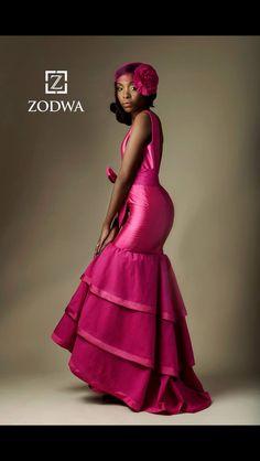 49968cc6210 Pink Shweshwe tiered mermaid dress. Anna Simantov · Zodwa Bridal