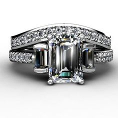 Emerald Cut Diamond Three Stone Ring With Diamond Accents And Diamond Wedding Band by Gregory Stopka