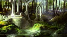 The once mighty kingdoms of the elves were brought low by the Sundering but parts of their beauty survived. (Ruins of Andum'qor by PHATandy on DeviantArt)