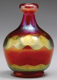 Rare Tiffany Red Miniature Bulbous Vase With Wavy Bands Of Gold Iridescence