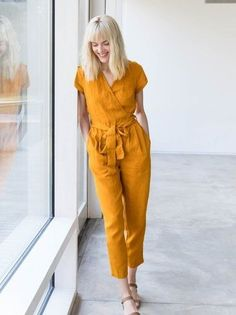 linen jumpsuit - Jumpsuits and Romper Designer Jumpsuits, Yellow Jumpsuit, Jumpsuit Outfit, Summer Jumpsuit, White Romper, Short Jumpsuit, Dress Outfits, Dressy Casual Outfits, Clothing Styles