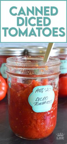 Many family recipes include Canned Diced Tomatoes.  Why not make your own with those local and fresh end of summer tomatoes?  They're very budget friendly and tastes so much better! #canning #canned #preserved #tomatoes #diced Side Recipes, Fruit Recipes, Veggie Recipes, Summer Recipes, Appetizer Recipes, Vegetarian Recipes, Beef Recipes, Appetizers, Healthy Recipes