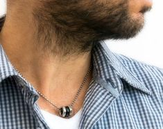 Mens Chain Necklace, Mens Silver Necklace, Chain Necklaces, Black Necklace, Presents For Men, Stainless Steel Necklace, Chains For Men, Gifts For Husband, Boyfriend Gifts