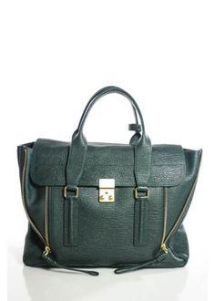 PHILIP-LIM-PASHLI-Green-Leather-Gold-Tone-Trim-Satchel-Handbag